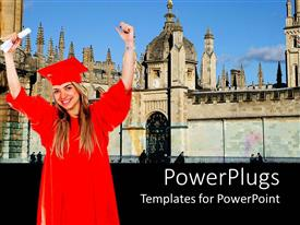 PowerPlugs: PowerPoint template with a female graduating student with a red colored cape and scroll
