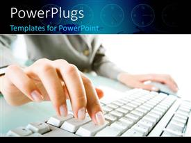 PowerPlugs: PowerPoint template with a female hand typing on a keyboard and holding a mouse