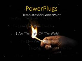 PowerPoint template displaying a female human hand holding a lit match stick