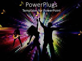 PowerPoint template displaying female and male couple dancing in the center of a colorful mosaic lights background with a guitarist and musical notes