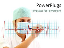 PowerPlugs: PowerPoint template with female medical doctor with nose mask writing on cardiogram