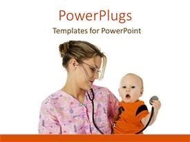 PowerPlugs: PowerPoint template with female medical professional in scrubs with stethoscope holding baby boy