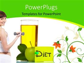 PowerPlugs: PowerPoint template with a female model doing exercise along with the diet and apple
