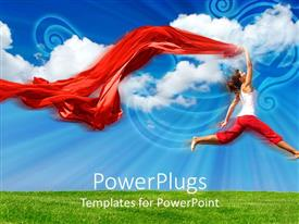 PowerPlugs: PowerPoint template with a female model jumping in the air with clouds in the background