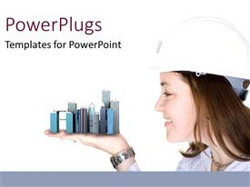 PowerPlugs: PowerPoint template with a female with a model of skyscrapers on the palm