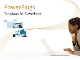 PowerPlugs: PowerPoint template with a female with a number of pics and pinkish background