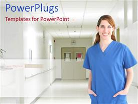 PowerPlugs: PowerPoint template with female nurse in blue scrubs standing on a hospital hallway smiling