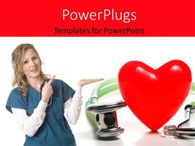 PowerPoint template displaying female nurse points to large red heart shape beside stethoscope