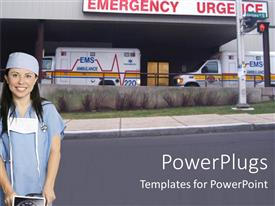 PowerPlugs: PowerPoint template with female nurse in scrubs and surgical mask standing outside emergency department in front of two ambulances