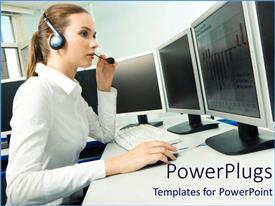 PowerPlugs: PowerPoint template with female office worker in white corporate shirt with a head set