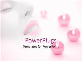 PowerPlugs: PowerPoint template with a female with pink lipstick along with pink balls