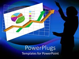 PowerPlugs: PowerPoint template with a female pointing towards the growth chart of a company