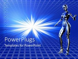 PowerPoint template displaying female robot blue background