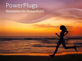 PowerPoint template displaying female running on a beach with a sunset background