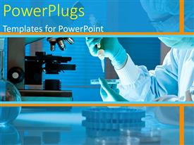 PowerPlugs: PowerPoint template with female scientist working at the research laboratory