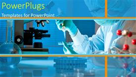 PowerPoint template displaying female scientist working at the research laboratory