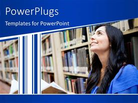 PowerPoint template displaying female student at the library with book