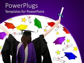 PowerPoint template displaying female student wearing an academic gown with caps and scrolls