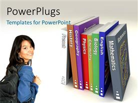 PowerPlugs: PowerPoint template with a female students with rows of colorful text books