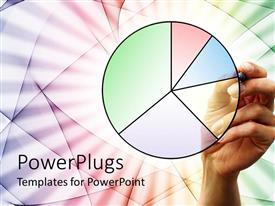 PowerPlugs: PowerPoint template with feminine hand drawing pie chart in pastel colors