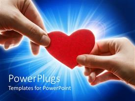 PowerPlugs: PowerPoint template with feminine and masculine hands holding red heart on shining blue background