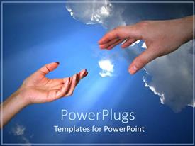 PowerPlugs: PowerPoint template with feminine and masculine hands reaching for each other on blue sky background