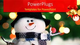 PowerPoint template displaying festive snowman and Christmas light background with bells