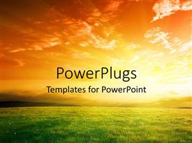 PowerPlugs: PowerPoint template with a sun in the background with a lot of grass in front