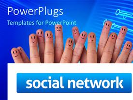 PowerPlugs: PowerPoint template with fifteen fingers with happy faces, smiley face fingers behind social network sign