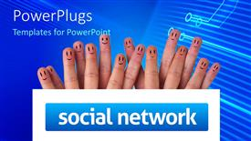 PowerPoint template displaying fifteen fingers with happy faces, smiley face fingers behind social network sign