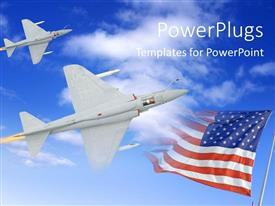 PowerPoint template displaying fighter airplane in the sky attacking the enemy, with flag