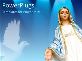 PowerPoint template displaying a figure of blessing merry with a dove in the background
