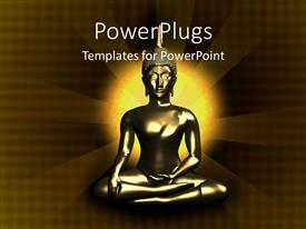 PowerPoint template displaying a figure of Buddha along with light in the background