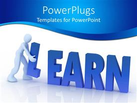 PowerPoint template displaying a figure carrying the L character of the word learn