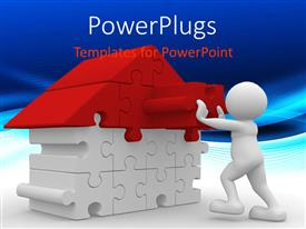 PowerPlugs: PowerPoint template with a figure completing the puzzle in the form of a house