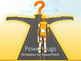 PowerPlugs: PowerPoint template with a figure confused to choose the right path from the given three