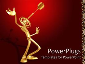 PowerPlugs: PowerPoint template with a figure with a dartboard instead of the face