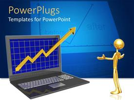 PowerPoint template displaying a figure in front of the laptop with bluish background