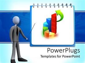 PowerPlugs: PowerPoint template with figure in gray business suit and black tie pointing to flip chart presentation