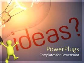 PowerPlugs: PowerPoint template with a figure happy because of a lot of ideas and bulb representing the idea