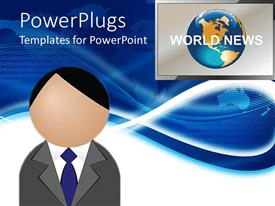 PowerPoint template displaying figure head presenting world news with screen displaying globe and world news words on world map on blue background