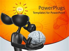 PowerPlugs: PowerPoint template with a figure holding its brain in its hand