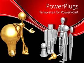 PowerPlugs: PowerPoint template with a figure holding the bulb and speaking to a number of others