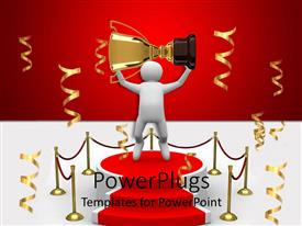 PowerPlugs: PowerPoint template with a figure holding the cup standing on the winning podium
