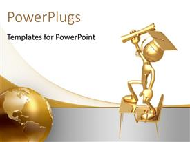 PowerPlugs: PowerPoint template with a figure holding the degree with a golden globe