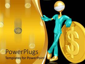 PowerPoint template displaying a figure holding the dollar coin with blackish background