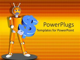 PowerPoint template displaying a figure holding the dollar sign