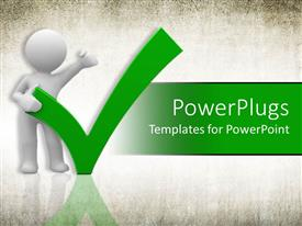 PowerPlugs: PowerPoint template with a figure holding the tick sign