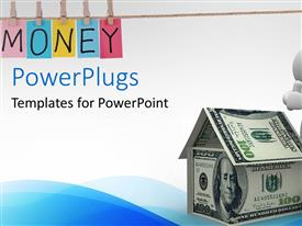 PowerPlugs: PowerPoint template with a figure with a house made of dollar notes