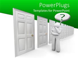 PowerPoint template displaying figure of man with hand on chin ask questions beside closed doors